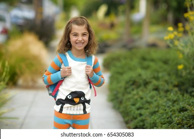 Little Girl going to school in pajamas