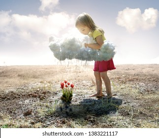 A little girl grabs a cloud and pours rain on some pink tulips