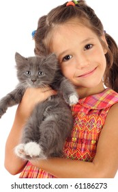 Little girl with gray kitty, isolated on white