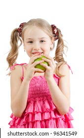 Little girl with green apple.Isolated on white background.
