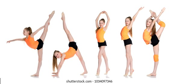 little girl gymnast performs an exercise. Balance on one leg with a grip. Sport concept, gymnastics, fitness. Isolated on white background.