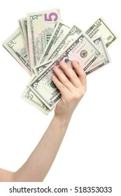 little girl hand and dollars