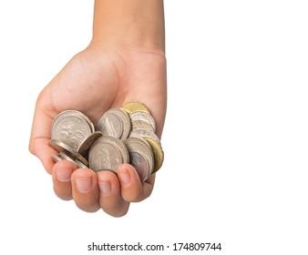 Little girl hands offering coins