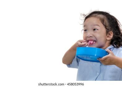 little girl happy eating
