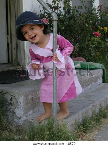 little girl so happy to play out side