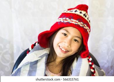 Little girl happy in room,Asian girl