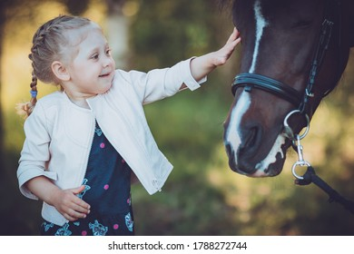 A little girl is happy to see a live horse for the first time