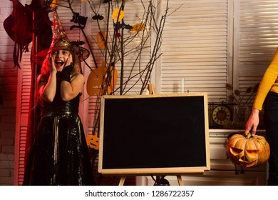Little girl happy smile on halloween. Happy little girl enjoy halloween party. Happy as a witch in a broom factory. Have fun witch hunting tonight, copy space.