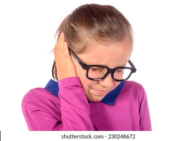 a little girl has earache on white background