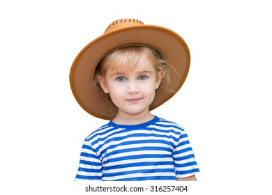 Little girl with hat on a white background.