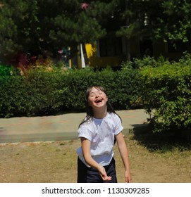 Little girl have fun outside