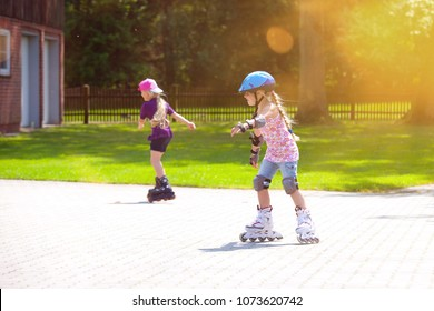 a little girl having fun to inline skating