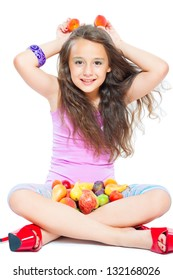 little girl and healthy food isolated on white