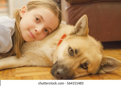 Little girl  with her dog laying on the parquet floor and look in to camera. Pet and child love. Enjoy pet friendship.