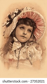 Little girl in her Easter bonnet - a Victorian illustration, circa 1899