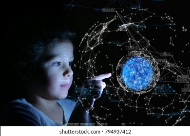 A little girl with her finger presses in front of her and bright futuristic graphics appear. Concept of: future, network, technology, security for children.