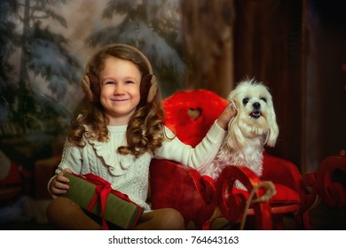 Little girl with her Maltese dog at Christmas Eve