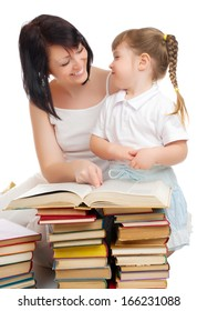 Little girl and her mother with books isolated