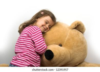 little girl with her teddybear