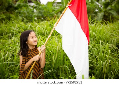 a little girl holding a bamboo with waving indonesian flag on the grass