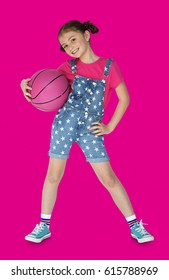 Little Girl Holding Basketball Sporty Smiling