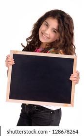little girl holding a blackboard