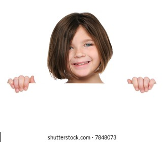 Little girl holding blank sign isolated on white