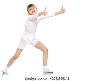 Little girl holding her thumb up. Concept Happy childhood, holiday, birthday.Isolated on white background