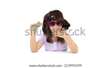 3c30ee7a52db Little Girl holding One Hundred Dollar Bill and other hand over mouth  isolated on white background