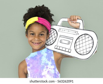 Little Girl Holding Paper craft Arts Radio Music Studio Portrait