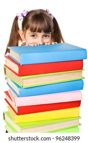 Little girl holding pile of books. Isolated