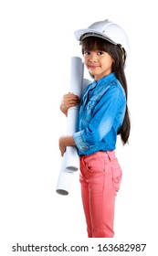 Little girl holding a poster, Isolated on white