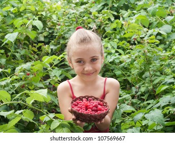 a little girl holding raspberries