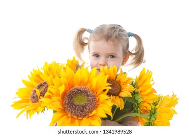 little girl holding a sunflower bunch mothers day concepts