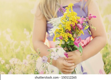 Little girl holding wild flowers bouquet on a grassy sunny summer meadow field