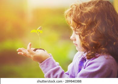 Little girl holding young plant in spring outdoors. Ecology concept. Background toning to instagram filter.