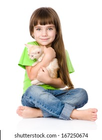 little girl hugging kitten. isolated on white background