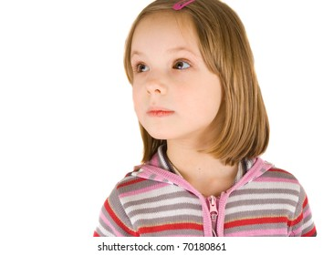 little girl isolated on white