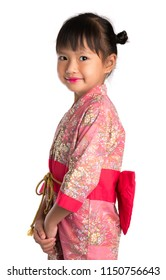 Little girl in Japanese traditional dress isolated on white background