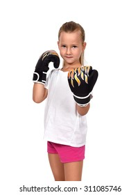 little girl kid fighting with thai boxing gloves