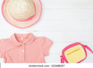 Little Girl Kid Pinky fashion flat lay