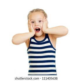 Little girl kid surprised with hands on her face isolated on white background