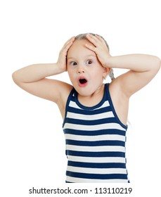 Little girl kid surprised with hands on her head isolated on white background