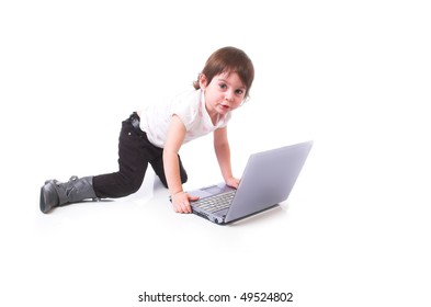 little girl with the laptop