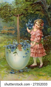 Little girl and a large Easter egg filled with flowers - A Victorian Eastertide greeting card illustration, circa 1914