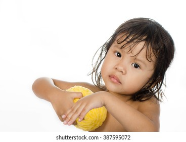 Little Girl is lave On White Background