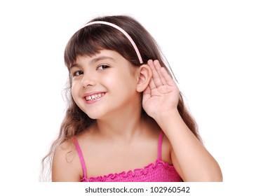 Little girl listening to the rumors