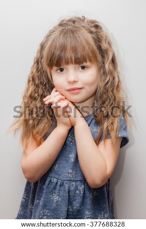 Little Girl Long Curly Hair Bangs Stock Photo Edit Now 377688328