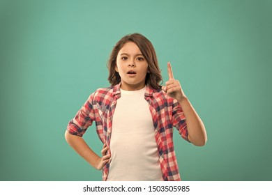 Little girl long hair got bright idea. Little child smile excited with new idea stand over blue background. This is the point. Idea solution. Girl cute concentrated face found out important idea.