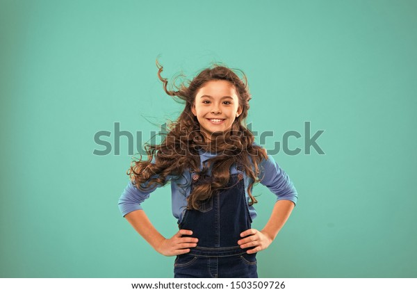 Little Girl Long Hair Kid Happy Stock Photo Edit Now